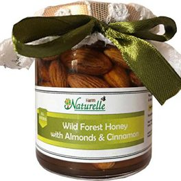 Farm Naturelle Cinnamon Infused Raw Natural Forest Honey and Big Delicious Almonds (Badaam)