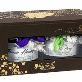 Farm Naturelle-The Corporate  Gifts Box of Exclusive Pure, Raw, Natural, Jungle/Forest Honey/Wild Berry Honey/Eucalyptus Honey (Any 2 Big 450 Gms Glass Bottles with Carry bag )