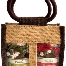 Cinnamon Infused  Delicious Figs (Anjeer) and Almonds(Badaam)-250 GMS x 2 Glass Bottles-Corporate Gift Pack in Jute Bag .