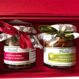 Farm Naturelle- Cinnamon Infused Nuts honey (Any 250 Gms x 2 ) Glass Bottles- in Decorative Gift  Box .