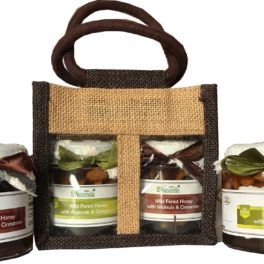Cinnamon Infused Walnut (Akhrot) and Almonds(Badaam)-250 GMS x 2 Glass Bottles-Corporate Gift Pack in Jute Bag .