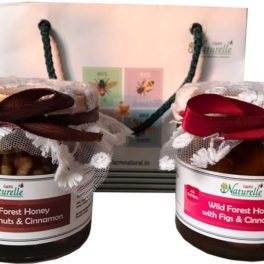 Cinnamon Infused  Delicious Figs (Anjeer) and Walnut (Akhrot)-250 GMS x 2 Glass Bottles- Gift Pack in Paper Bag .